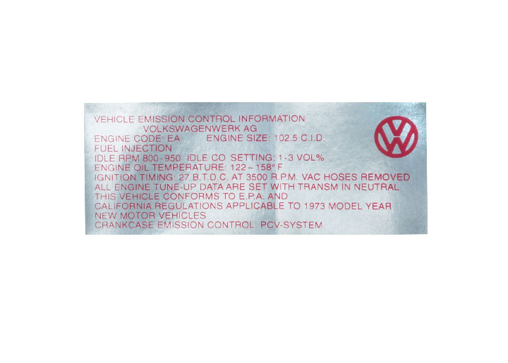 Engine Compartment Decal Sticker; 1973; 914; 1.7