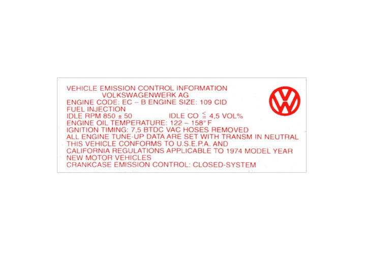 Engine Compartment Decal Sticker; 914; 1974; 1.8