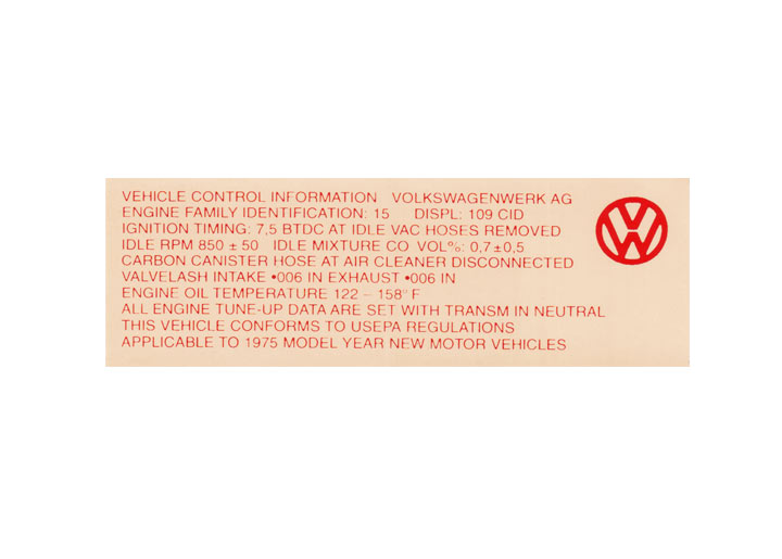 Engine Compartment Decal Sticker; 914; 1975; 1.8