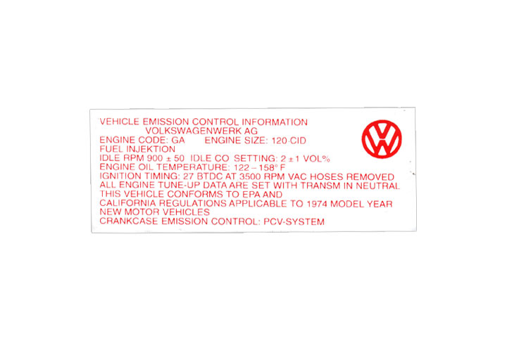 Engine Compartment Decal Sticker 2.0; 914 1974
