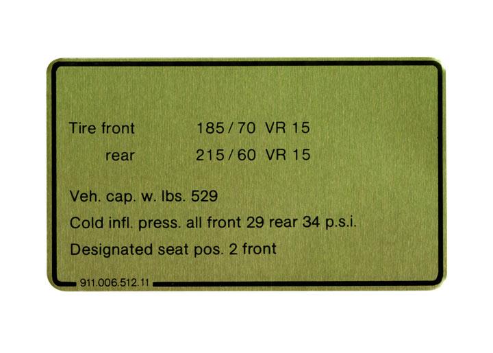 Tire Pressure Sign