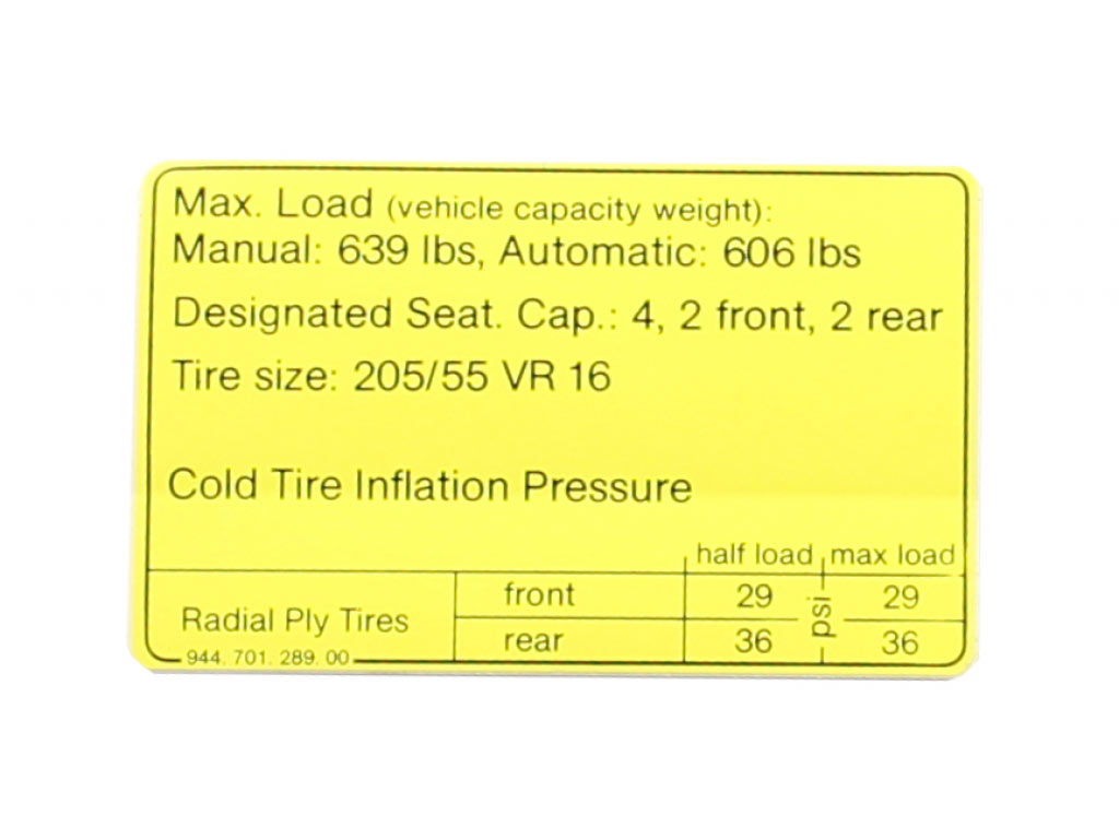 Decal-tire Pressure