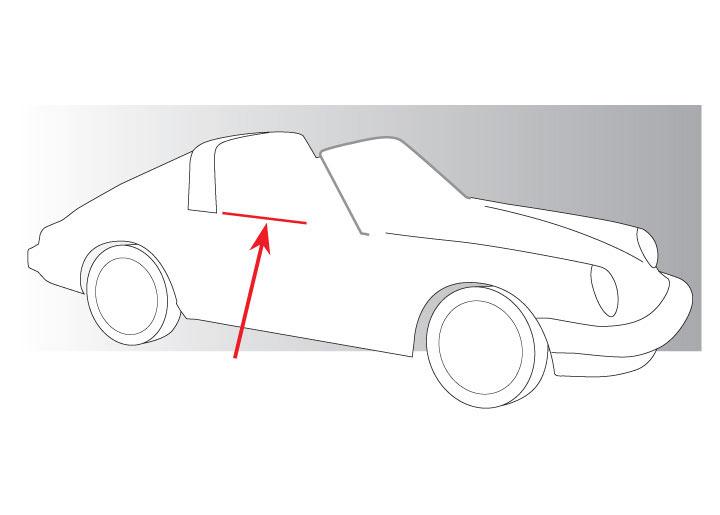 Porsche 911 Upper Door Edge LR NEW#NS 912 930 Door Glass Felt Brush w// Clips