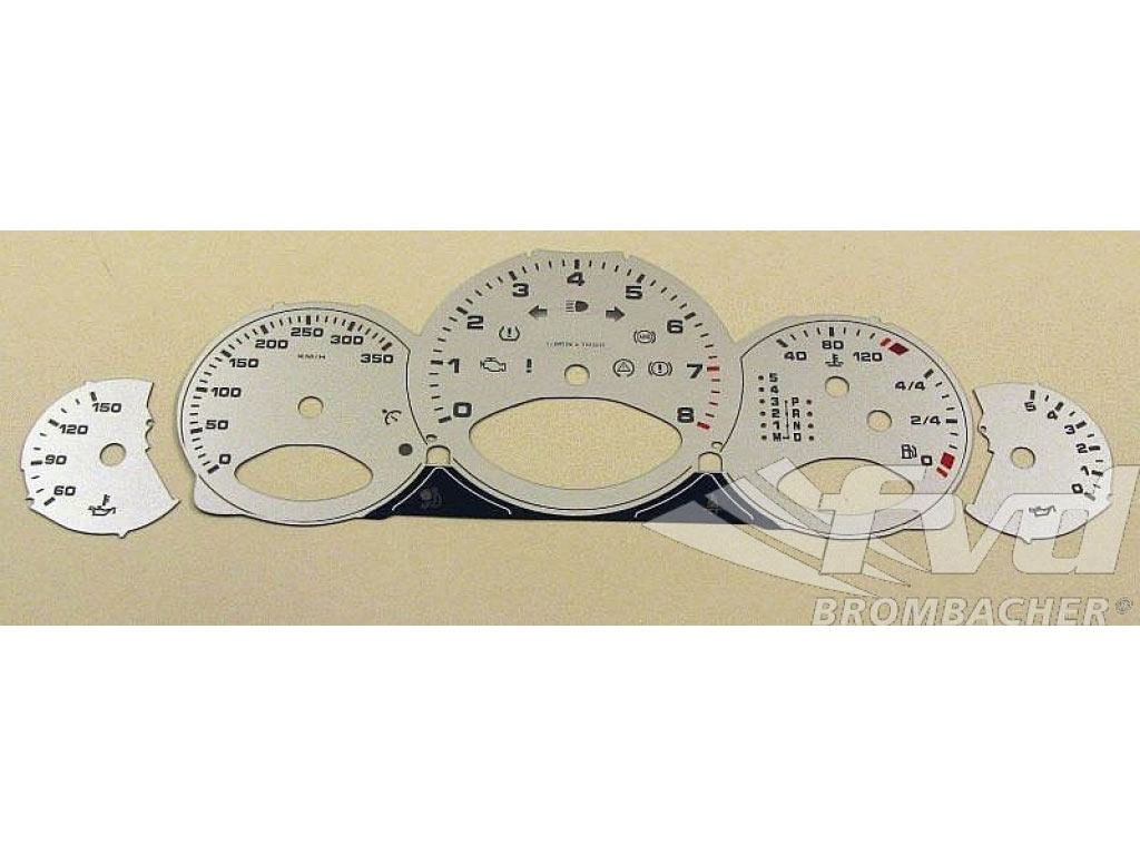 Gauge Faces Silver 997 Turbo (logo Turbo ) Km/h, Tiptronic