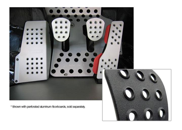 Rennline 4-piece Perforated Aluminum Pedal Set, Black