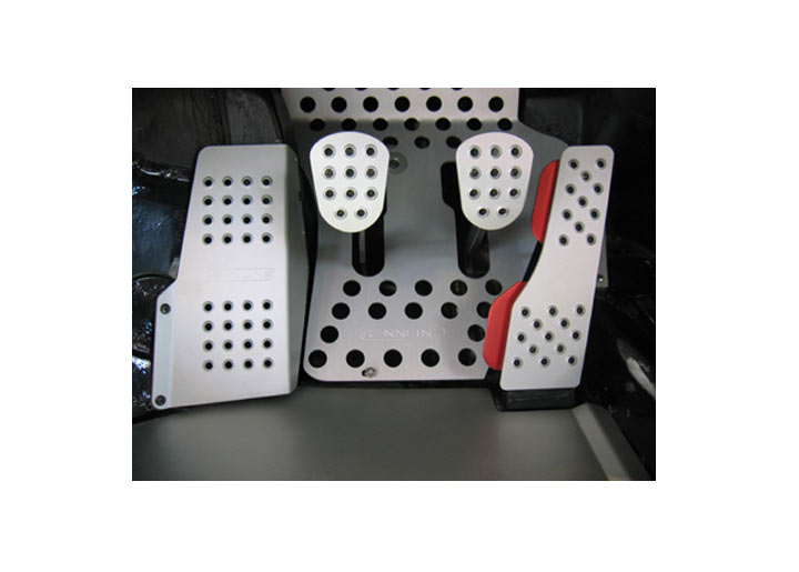 Rennline 4-piece Perforated Aluminum Pedal Set, Manual Trans, B...