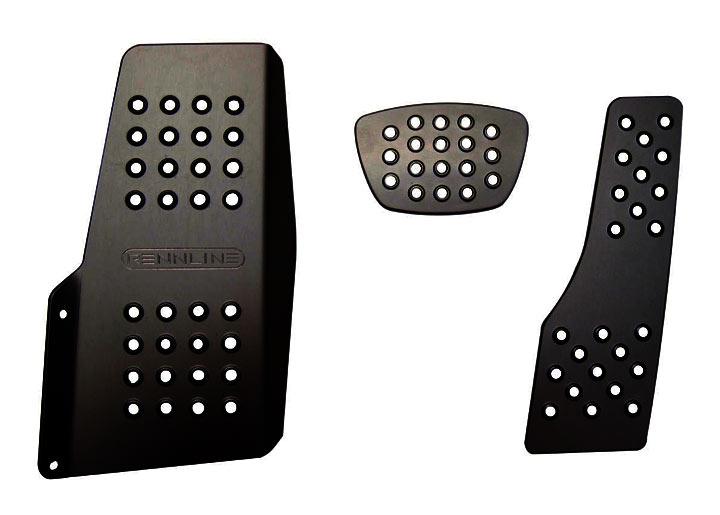 Rennline 3-piece Perforated Aluminum Pedal Set, Auto Trans, Black
