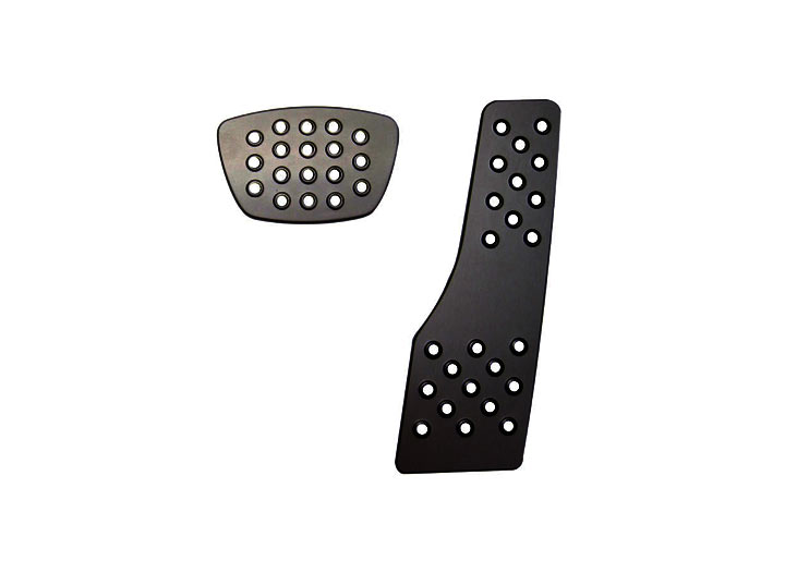 Rennline 2-piece Perforated Aluminum Pedal Set, Auto Trans, Black