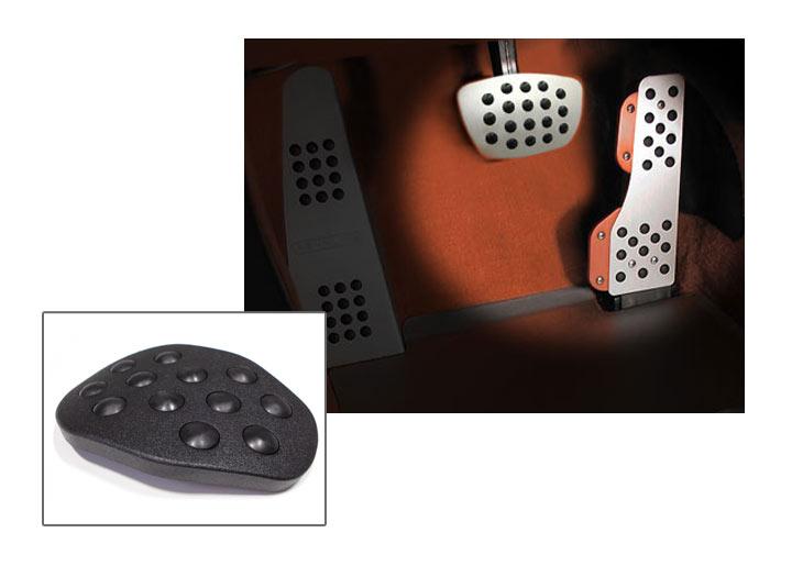 Rennline 2-piece Rubber Grip Aluminum Pedal Set, Auto Trans, Bl...