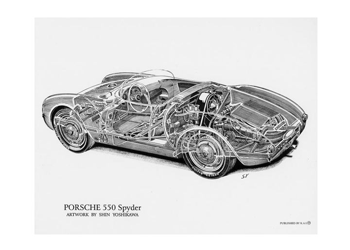 550 Spyder Cutaway Poster