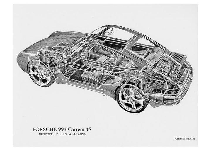 Carrera 4s Cutaway Poster