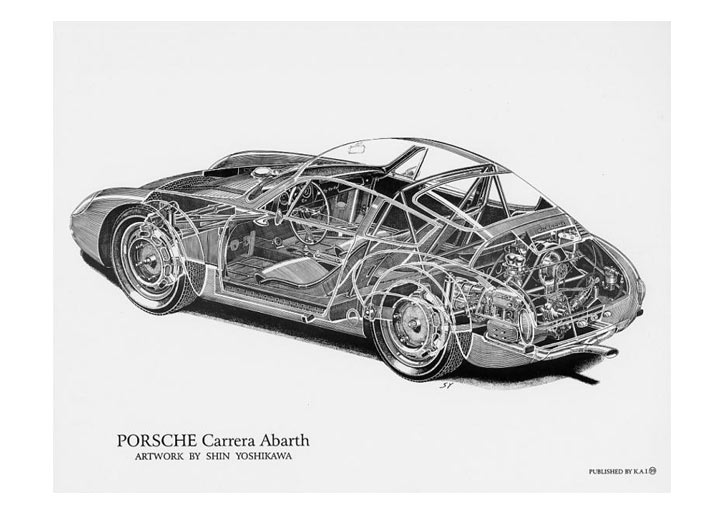 Porsche Carrera Abarth Cutaway Poster