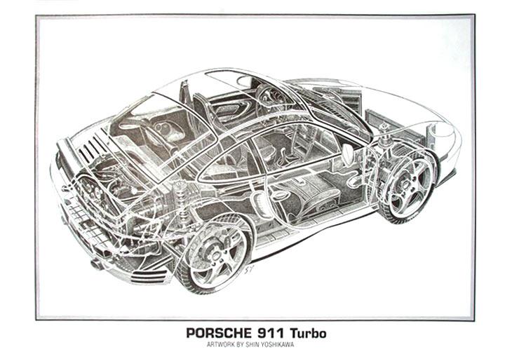 930 Turbo Cutaway Poster